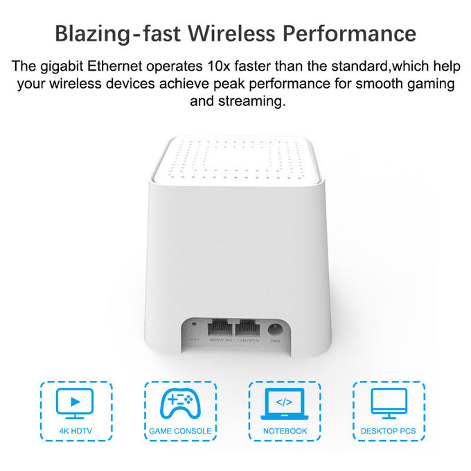 White Dual Band Mesh Router / Mesh Network Router For Home Use 10/100/1000Mbps